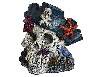 Skull with Pirate Hat Aquarium Fish Tank Ornament Decoration
