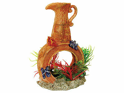 Pot with Airstone & Plants Aquarium Fish Tank Ornament Decoration