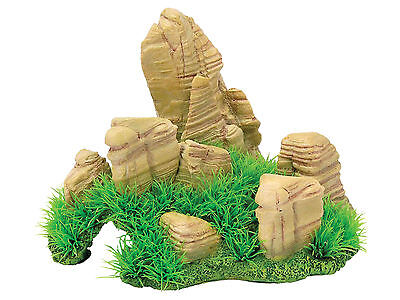 Aquarium Rock with Grass Aquarium Fish Tank Ornament Decoration