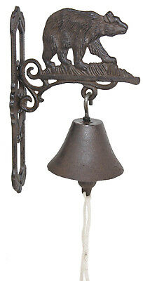 Cast Iron Hanging Bear Bell Decorative Dinner Bells Bears Outdoor Wildlife