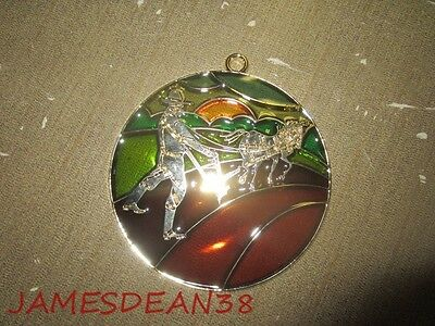 John Deere Stained Glass Christmas Xmas Ornament 1990 Man Plowing  Window