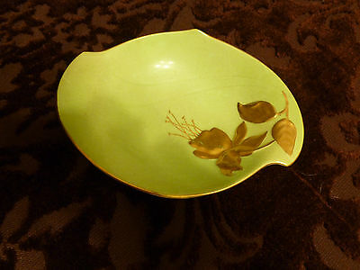 Royal Winton Pedestal Bowl/Candy dish - Green and Gold - Oval shape