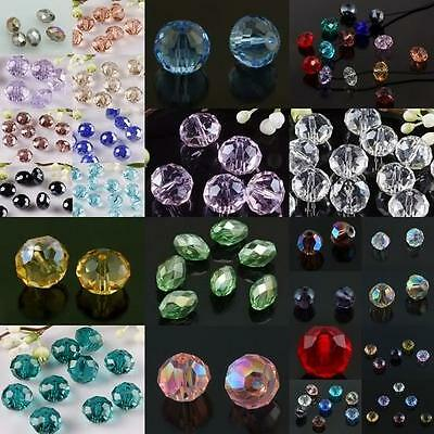 Faceted Crystal Glass Rondelle Rice Ball Gemstone Loose Spacer Beads Findings
