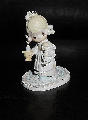 Adorable 1993 Metal Precious Moments Miniature Pewter Girl with candle and doll