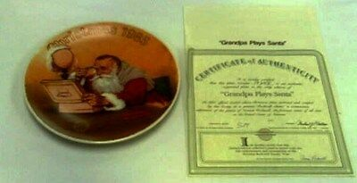 """Grandpa Plays Santa  Rockwell Limited Edition Christmas Plate 1985"