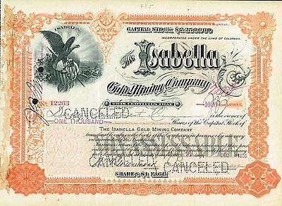 USA ISABELLA GOLD MINING COMPANY stock certificate 1896 COLORADO
