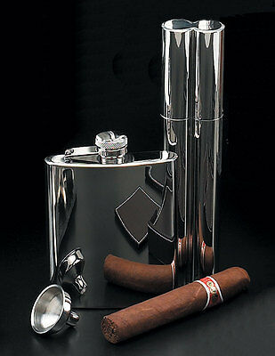 Chrome 3 piece Gift set 2 Cigar holder Flask and funnel