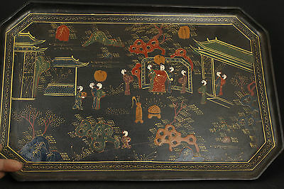 RARE CHINESE OLD WOODEN HAND PAINTING LACQUER MING DYNASTY SAGE HOME DECOR PLATE
