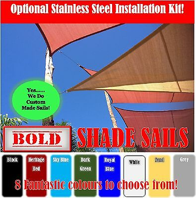 Shade Sail 8 Colours 9 Sizes Sun Canopy Outdoor Shade Cloth 280g/m²  S/Steel Kit