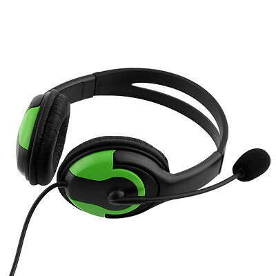 Wired Two Sides Adjustable Big Headphone Headset W/MIC For PS3 Black+Green