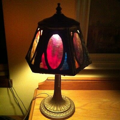 Antique Slag Glass Lamp ~ Psychedelic colored Glass...Miller!?