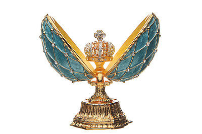 Decorative Faberge Egg / Grid with Russian Emperor's Crown 11.5 cm light blue