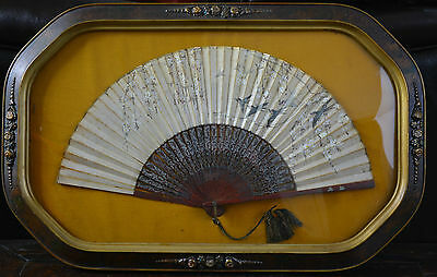 Framed Chinese Export Fan Carved Lacquered Sticks Painted Birds Cherry Blossom