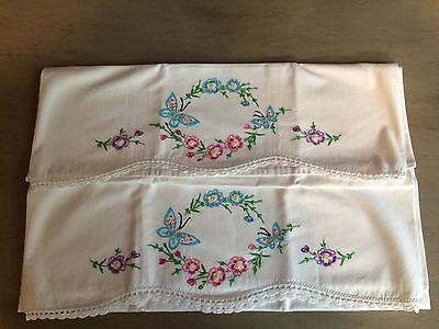 "2 Hand Embroidered Floral & Butterflies Pillowcases 20.5 X 28.5"" Crocheted Hem"