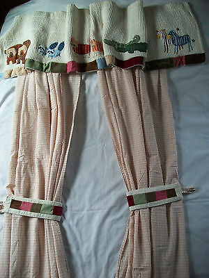 Boys TWO by TWO Noahs Ark Nursery CURTAIN PANELS & VALANCE by Kidsline