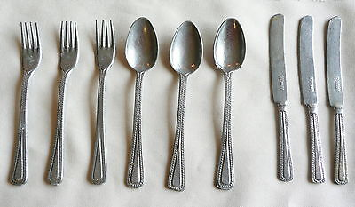 Childs Vintage Toy Tin Silverware Set of 9 Germany