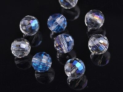 30pcs 10mm 96Faceted Round Ball Glass Crystal Finding Loose Beads Blue Colorized