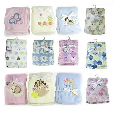 Baby Newborn Soft Fleece Blanket Pram Crib Moses Basket Girl Boy Unisex 0+ Month