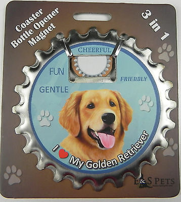 Golden Retriever dog coaster magnet bottle opener Bottle Ninjas magnetic