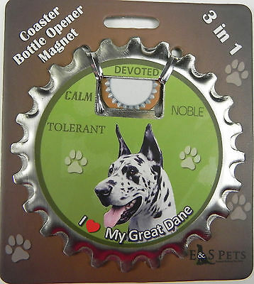 Great Dane Harlequin dog coaster magnet bottle opener Bottle Ninjas magnetic