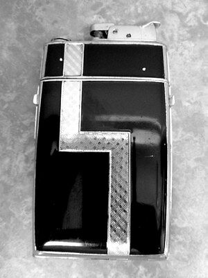 Evans Trig-A-Lite Cigarette Lighter Case Combo- Silver & Black Enamel - Art Deco