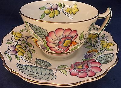 Booths Mayfair England China Tea Cup Saucer Set Pink Flowers Blue Gilded A8008