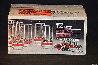 Libbey Holly & Berries Glasses 16 Oz Glasses- in box