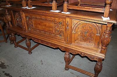 HAND CARVED Solid OAK CUPBOARD BUFFET TABLE 6 CHAIRS 2 leaves SET Very Ornate