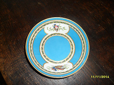 Antique Sevres  Bowl or Plate Gilded & Handpainted with Birds