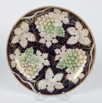 Antique Porcelain Plate Cobalt W/ Grapes New Hall Pattern #779