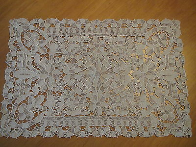 Vintage Placemats lace Table Mats Set 9 Needlelace Point De Venise FLOWER