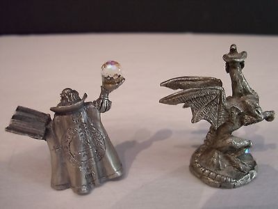 Miniature Pewter Figurine - Wizard and Dragon with Crystal  mythical