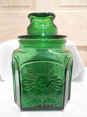 vintage WHEATON Irish GREEN GLASS APOTHECARY CANISTER JAR W LID SUNFLOWER  7.5""
