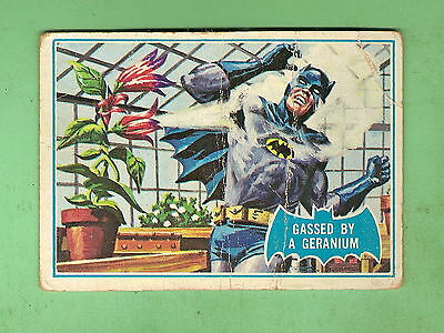 Scanlens 1966 Batman Blue  Bat Card #33B  Gassed By A Geranium