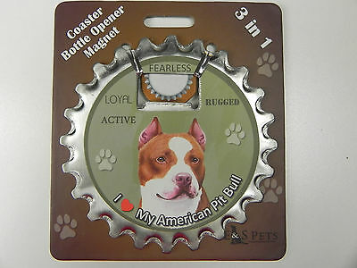 Pit Bull Terrier dog coaster magnet bottle opener Bottle Ninjas magnetic Tan