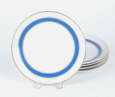 Set Of 5 Fitz & Floyd Cerulean Blue And Gold Band Salad Plates-7 1/2""