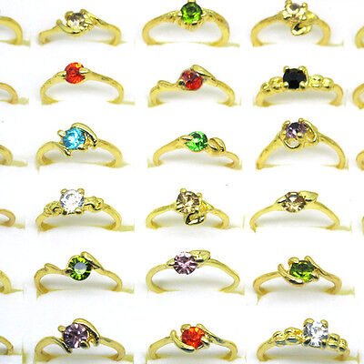 Wholesale Lot 20Pcs Mixed Style Big 5mm Crystal Stone Ring Gold Plated A8