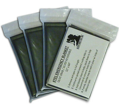 Space Blanket, Olive Drab 4-pack: Military Casualty/Trauma Survival Blankets