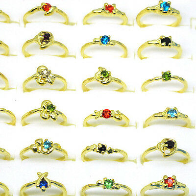 Wholesale Lot Beautiful 30Pcs Mix Style Crystal Zircon Ring Gold Plated A6