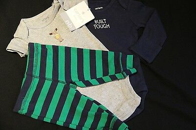 NWT Wonder Nation Baby Boy NB Newborn Zoo Zip-Up Sleep Play Pajamas Layette Set