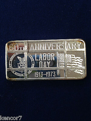 1973 Great Lakes Mint Labor Day 1973 Cancelled GLM-5C Silver Art Bar P1243
