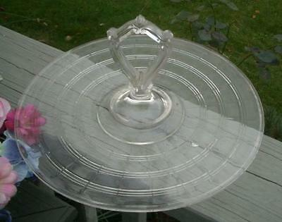 VINTAGE EAPG GLASS CRYSTAL HANDLED TIDBIT PLATE TRAY