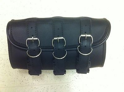 Motorcycle Black Leather Fork Saddlebag Tool Storage Bag