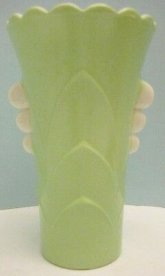 Old Opaque Lime & White Milk Glass Art Deco Fluted Vase - classy!