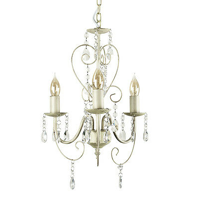 Modern Shabby Chic Style Distressed White Cream Ceiling Light Chandelier Lights
