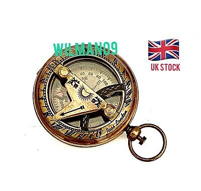 Solid Brass Push Button Compass & Sundial- High Quality & Heavy - POCKET SUNDIAL
