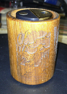 "Vintage Lazercraft 3"" Walnut Wood Tabletop Butane Goose Lighter"