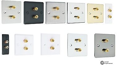 Audio Speaker AV Wall Face Plate  2 Terminal with Binding Posts for Banana Plugs