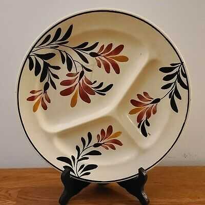 """VTG - Faiencerie D'Onnaing (Nord) 10"""" Floral Ivory Divided Dish/Plate 321 France"""