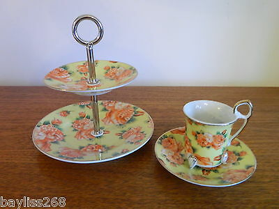 Delightful Set,Small Sized Cake Stand and Matching Cup and Saucer Yellow Floral